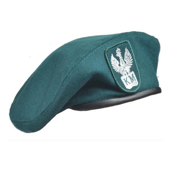 Beret Militarny Szyty z Orzełkiem KM Ciemnozielony