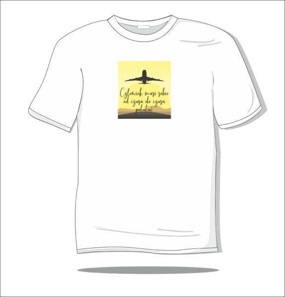 Koszulka z nadrukiem kolorowym Człowiek musi sobie polatać