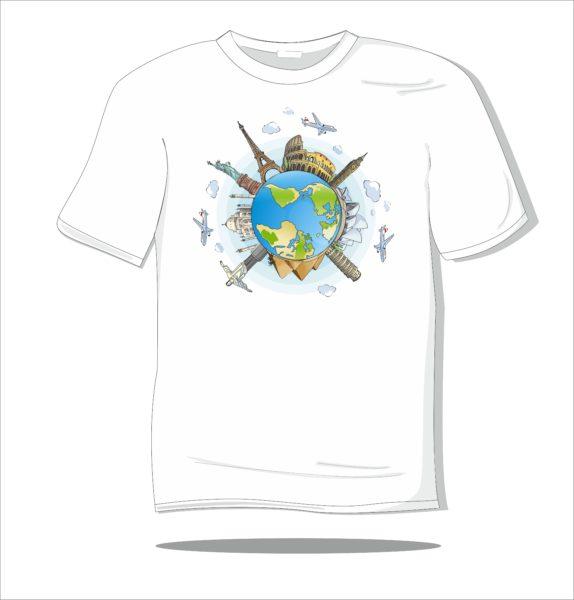 Koszulka z nadrukiem kolorowym Dookoła świata