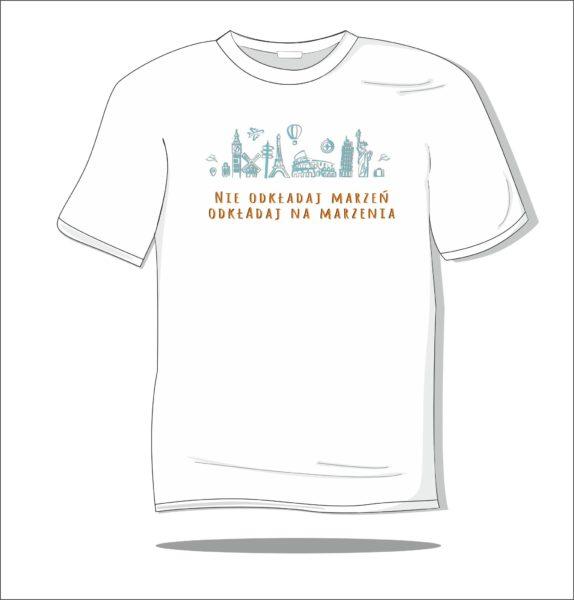 Koszulka z nadrukiem kolorowym Nie odkładaj marzeń