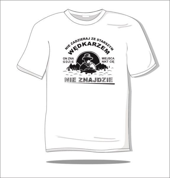 Koszulka z nadrukiem Nie zadzieraj z wędkarzem