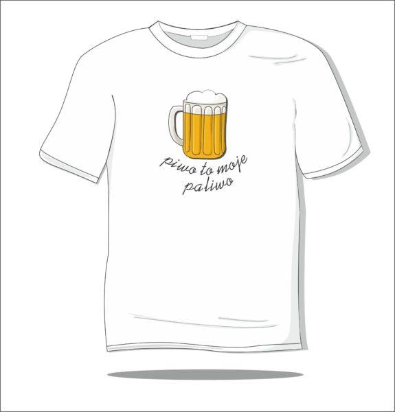 Koszulka z nadrukiem kolorowym Piwo to moje paliwo