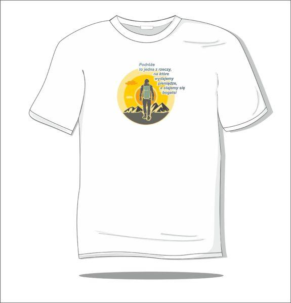 Koszulka z nadrukiem kolorowym Podróż to jedyna rzecz