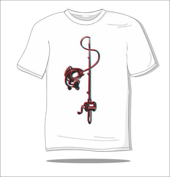 Koszulka z nadrukiem kolorowym Ryba na haczyku