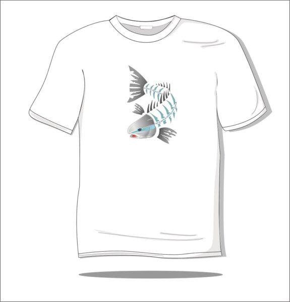 Koszulka z nadrukiem kolorowym Ryba szkielet