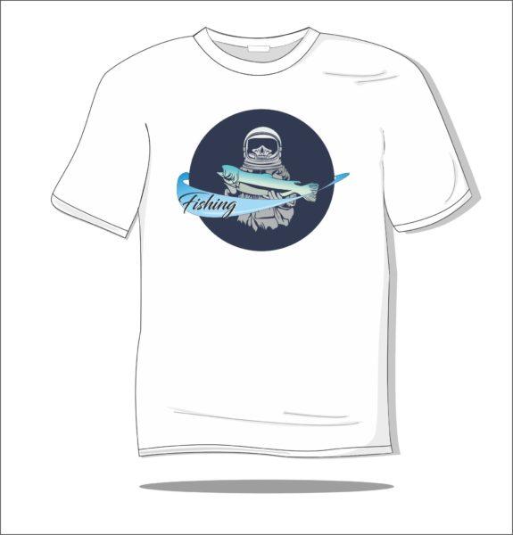Koszulka z nadrukiem kolorowym Ryba w kosmosie