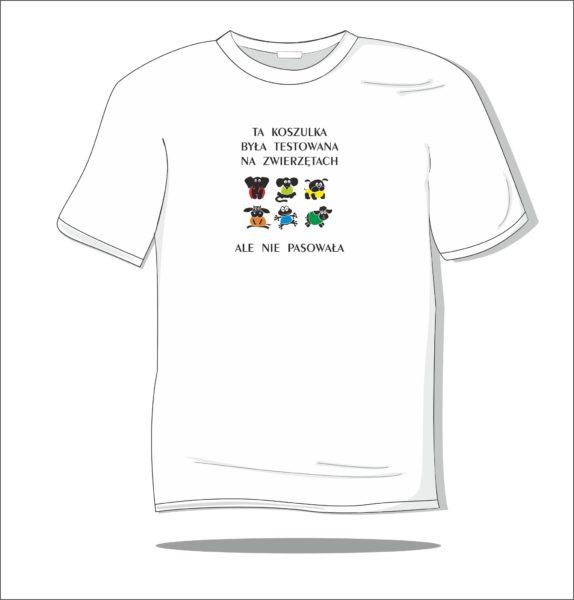 Koszulka z nadrukiem kolorowym Testowana na zwierzętach