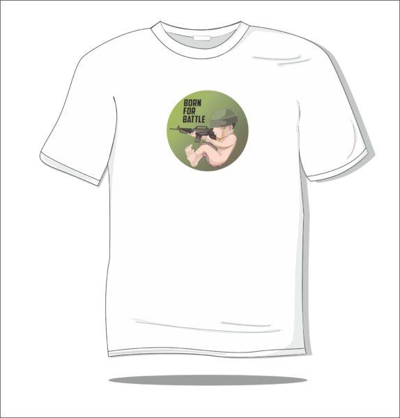 Koszulka z nadrukiem kolorowym Born For Battle