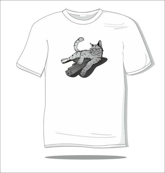 Koszulka z nadrukiem kolorowym Cat and gun