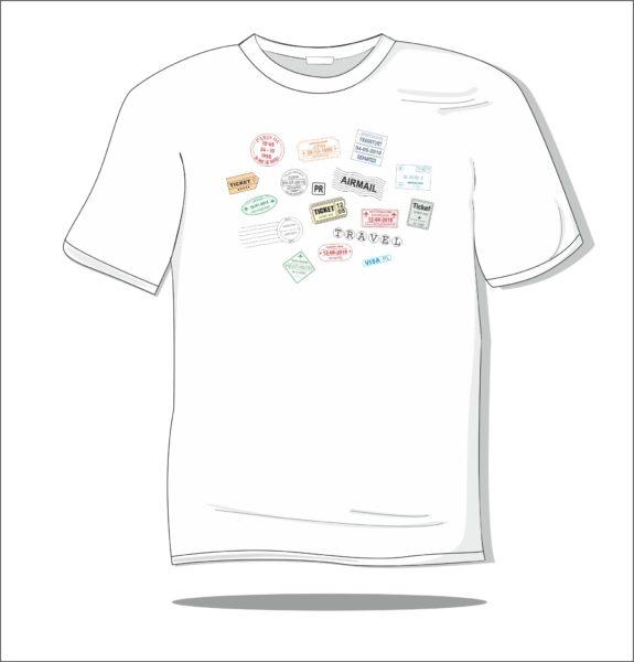 Koszulka z nadrukiem kolorowym Travel stamples
